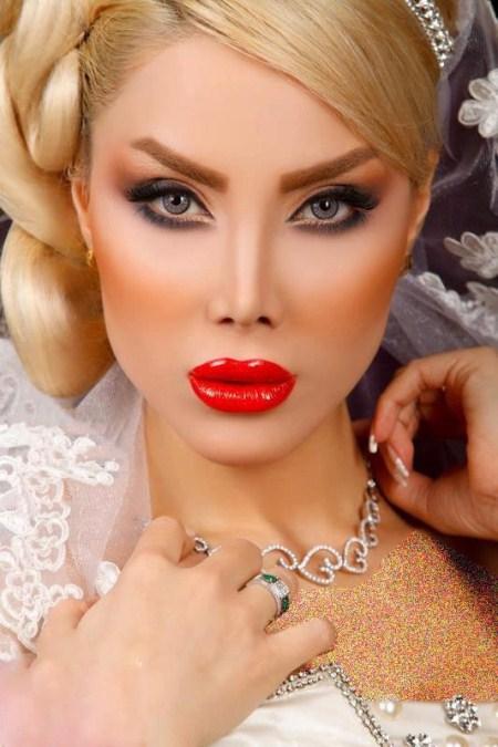 عکس مدل های جدید شنیون مو و آرایش صورت عروس