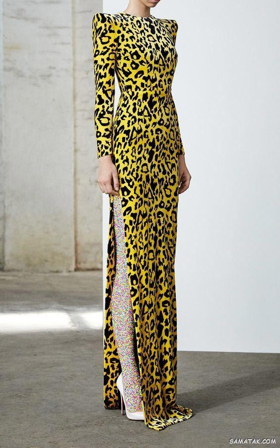 مدل لباس دو رنگ جدید   انواع مدل لباس مجلسی دو رنگ بلند
