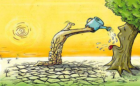 """کاریکاتور مفهومی با مضمون """"صرفه جویی در مصرف آب"""""""