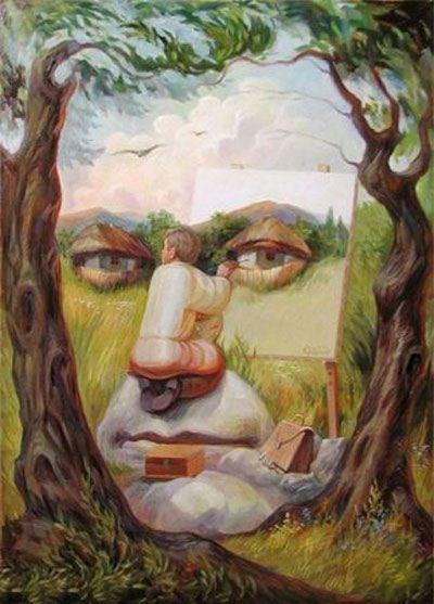 عکس نقاشی های فانتزی با مضمون خطای دید