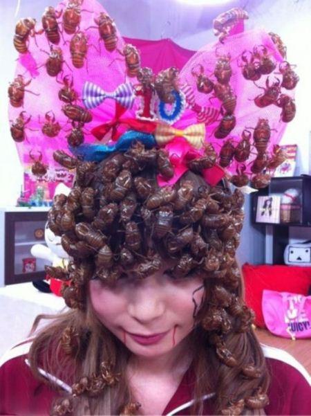 چندش آور ترین مدل مو با استفاده از سوسک های زنده