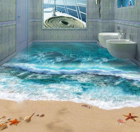کفپوش های سه بعدی کف حمام و دستشویی