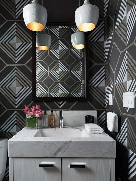 دیزاین دستشویی و حمام با تم مشکی
