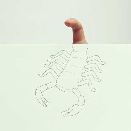 ترکیب هنری اشیاء با انگشتان دست در نقاشی