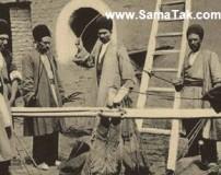 عکس فلک کردن زن جوان در زمان قاجار