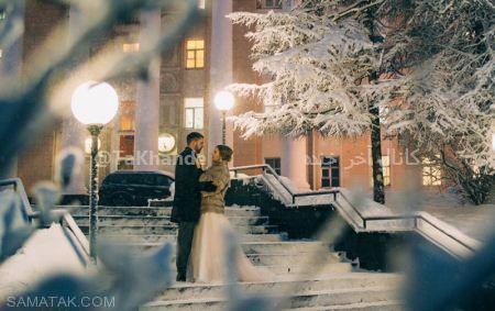 شب زفاف زوج روسی در هوای برفی 40 درجه زیر صفر + تصاویر