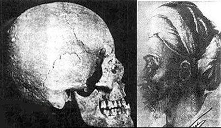 عکس جمجمه و اسکلت بدن ابوعلی سینا پس از نبش قبر وی در همدان