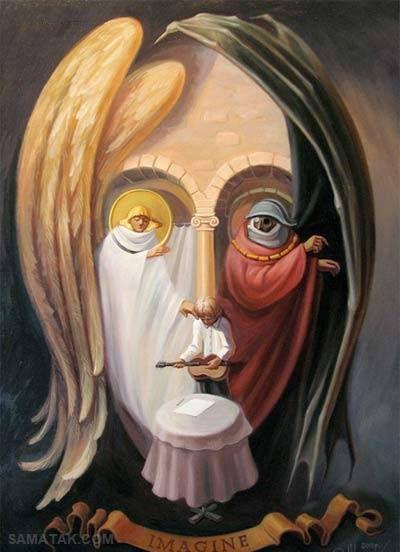 عکس نقاشی های زیبا و شگفت انگیز چهره در چهره