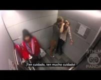 تصاویر خشونت مردان علیه زنان از دوربین مخفی یک آسانسور