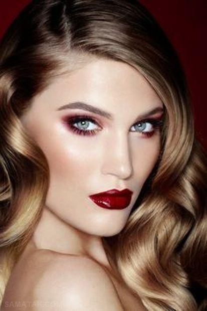 عکس مدل های جدید آرایش صورت با رژ لب تیره مات