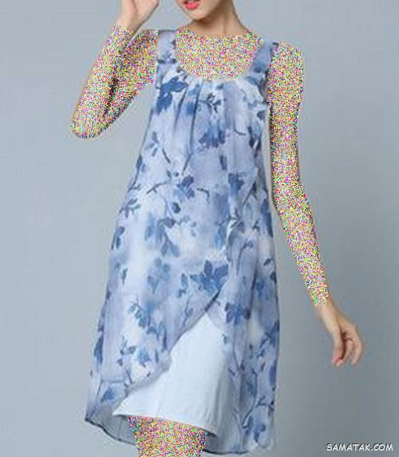 مدل تونیک نخی گلدار آستین کوتاه تابستانه