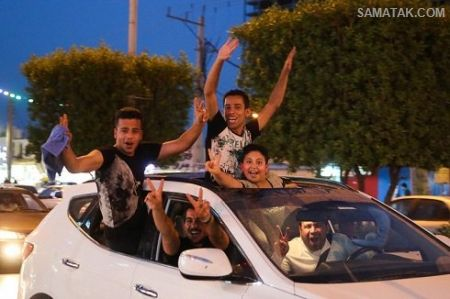عکس های شادی و خوشحالی دختر و پسرهای اهوازی در خیابان های اهواز