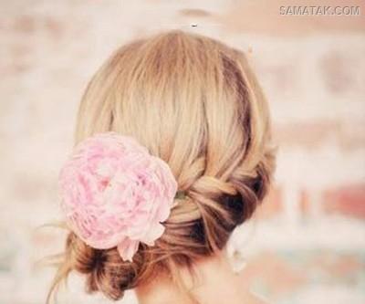 تزیین مو با گل طبیعی در خانه