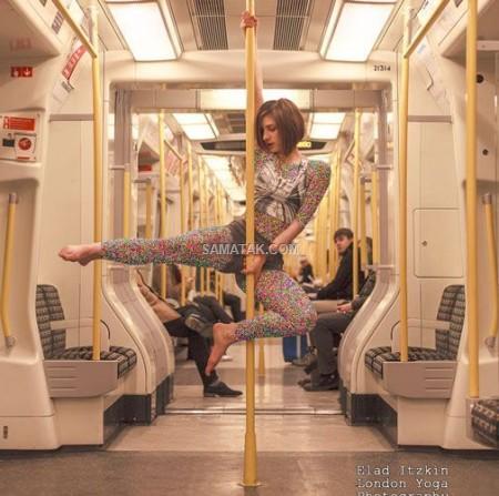 عکس های رقصیدن دختر زیبارو در مترو