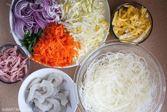طرز تهیه نودل سنگاپوری غذای خوشمزه آسیایی