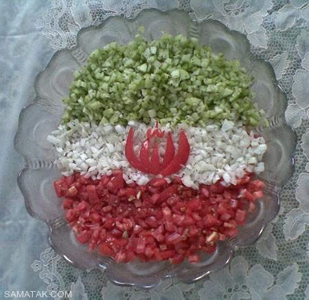 طرز تهیه و تزیین سالاد شیرازی مجلسی