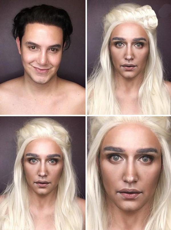 مردی که با آرایش های عجیب و غریب خودش را شبیه زنان میکند!