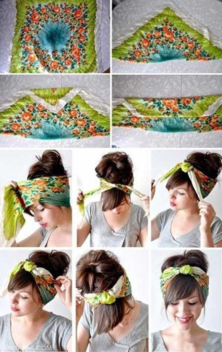 نحوه بستن دستمال سر های تابستانه