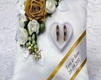 شیک ترین طرح های تزیین حلقه ازدواج سفره عقد با کوسن
