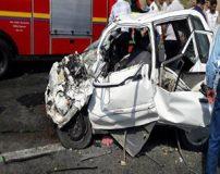تصاویری از تصادف و متلاشی شدن خودروی سمند با پراید