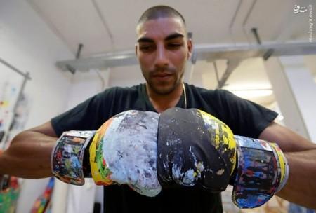 نقاشی های زیبای بوکسور ایتالیایی با مُشت روی بوم نقاشی