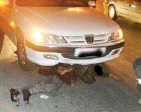 زنی که پس از تصادف با پژو پارس 4 کیلومتر زیر خودرو کشیده شد + عکس