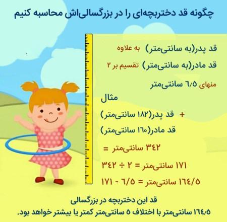 فرمول محاسبه قد بزرگسالی کودکان
