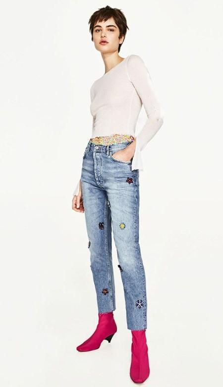 مدل شلوار جین دخترانه طرح دار با برند زارا