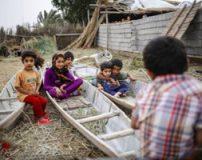 مناظری زیبا از تفریح مهمانان نوروزی در تالاب شادگان