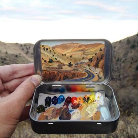 مناظر طبیعی آمریکا که به صورت نقاشی مینیاتوری است