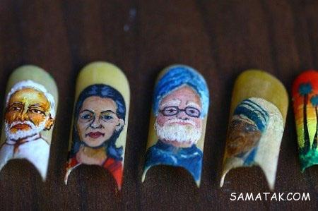 نقاشی های خارق العاده یک هنرمند روی ناخن