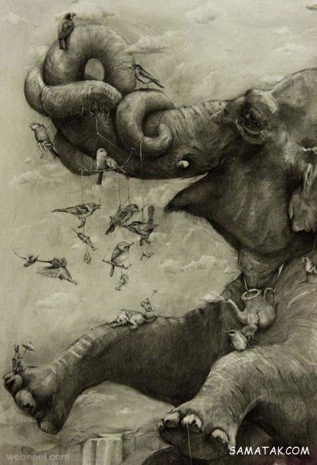 ترسیم نقاشی های سه بعدی با استفاده از زغال