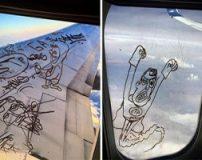 نقاشی های زیبای هنرمندی روی شیشه هواپیما