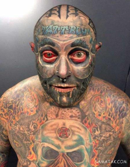 مردی که آلت جنسی و تمام بدنش را تتو کرده است + تصاویر