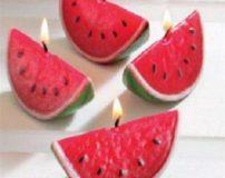 طرز تهیه شمع به شکل هندوانه شب چله + آموزش تصویری