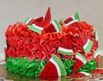 عکس انواع مدل های تزیین کیک به شکل هندوانه برای شب یلدا