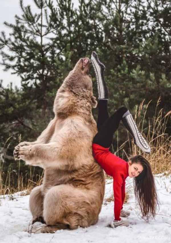 دوستی عاشقانه دختر 14 ساله با خرس نر + تصاویر