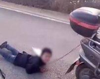 کشیدن پسر بچه روی زمین با موتور به مدت 72 ساعت
