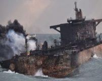 فیلم کامل و واضح از لحظه تصادف نفتکش سانچی و انفجار کشتی
