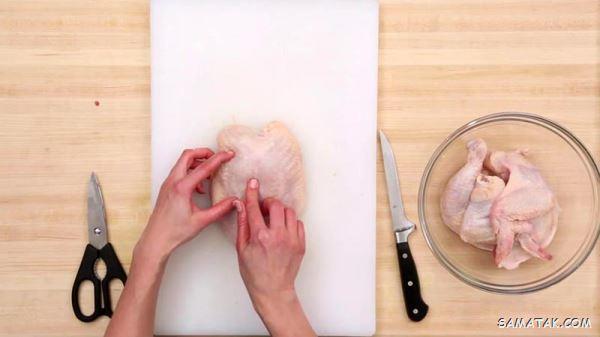 آموزش تصویری بهترین روش خرد کردن مرغ (٨ تكه كردن مرغ)