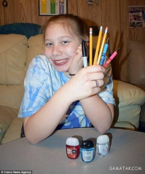 دختر 13 ساله ای که به جای غذا مداد و خودکار می خورد