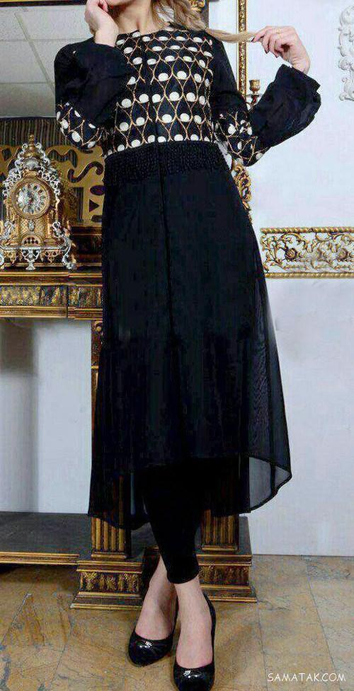 مدل مانتوهای مشکی مجلسی کار شده با طلاکوب