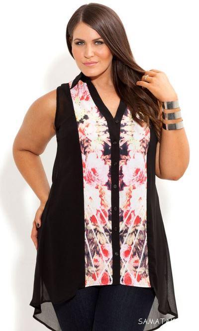انواع مدل های تونیک سایز بزرگ زنانه با رنگ بندی جدید