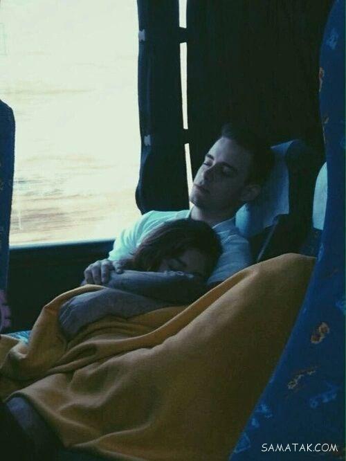 عکس خوابیدن زن و شوهر روی هم