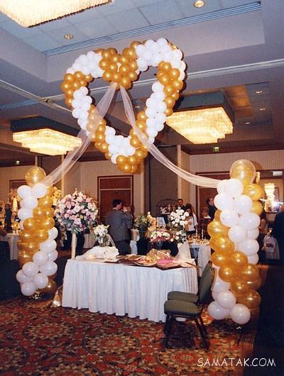 تزیین حجله عروس و داماد با بادکنک های رنگی و فانتزی