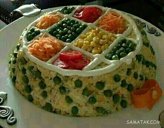 تزیین سالاد الویه با خیارشور و گوجه برای مهمانی و تولد