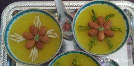 عکس شله زرد تزیین شده برای سفره افطار ماه رمضان