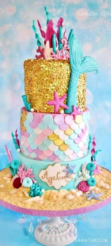 مدل کیک تولد دخترانه بزرگسال با خمیر فوندانت