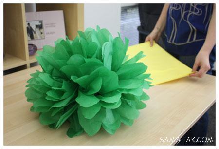 طرز درست كردن گل كاغذي براي تولد + روش درست كردن گل كاغذي بزرگ