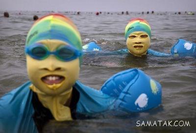 عکس زنان در سواحل چین با مایو